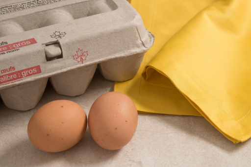 two brown eggs in front of a carton