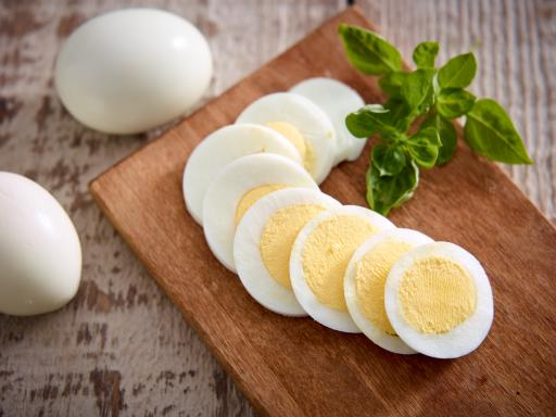 hard-cooked eggs on a board