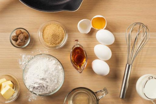 eggs on a counter with pancake ingredients