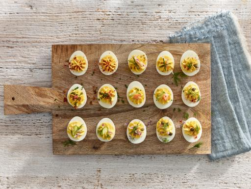 devilled eggs on a cutting board